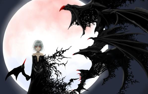 Картинка ночь, летучая мышь, черное платье, красные глаза, art, трансформация, вампирша, черные крылья, Touhou Project, Remilia …