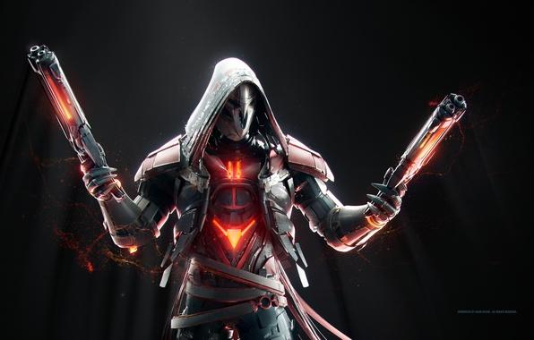 Фото обои gun, Overwatch, weapon, Reaper, mask, game, hood