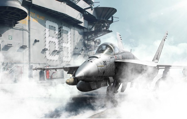 Картинка самолет, дым, корабль, истребитель, палуба, бомбардировщик, штурмовик, американский, палубный, Boeing FA 18EF Super Hornet