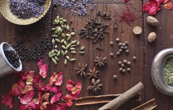 Картинка зерно, лепестки, перец, корица, семечки, wood, лаванда, специи, кардамон, бадьян