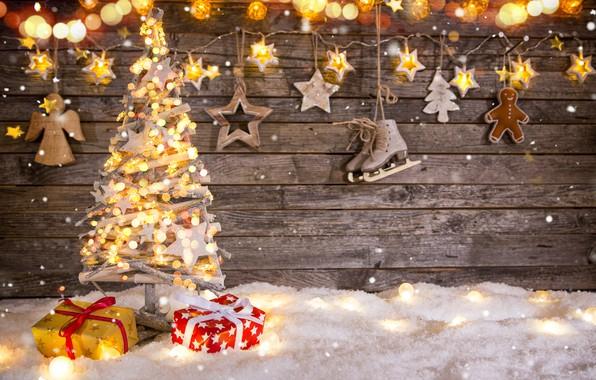 Картинка снег, украшения, игрушки, елка, Новый Год, Рождество, подарки, гирлянда, happy, Christmas, vintage, wood, snow, New …