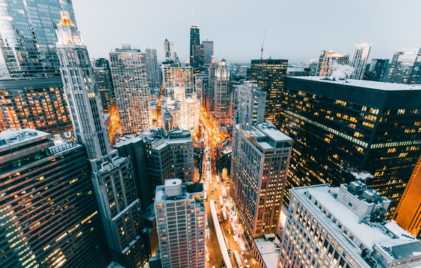 Картинка свет, город, огни, дома, Чикаго, США