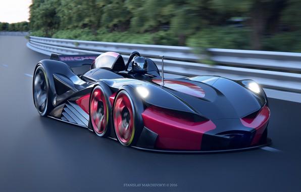 Картинка машина, скорость, трасса, арт, гонки, Stanislav Marchevsky, 6 wheels racing car
