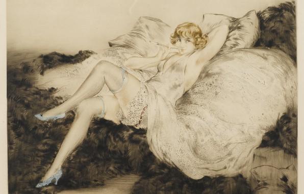 Картинка женщина, чулки, туфли, курит, 1925, Louis Icart, арт-деко, офорт и акватинта, Белое неглиже