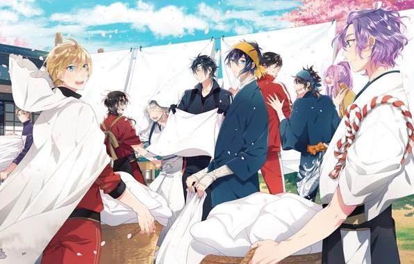Картинка аниме, арт, парни, персонажи, Touken Ranbu, Танец мечей