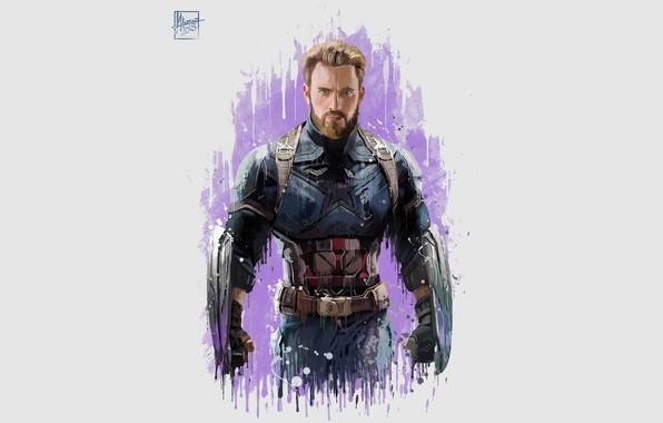 Картинка Рисунок, Костюм, Актер, Герой, Кино, Борода, Супергерой, Hero, Фильм, Фантастика, Marvel, Капитан Америка, Captain America, …