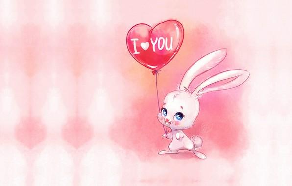 Картинка праздник, шарик, арт, валентинка, зайчик, детская, Виктория Кошелева