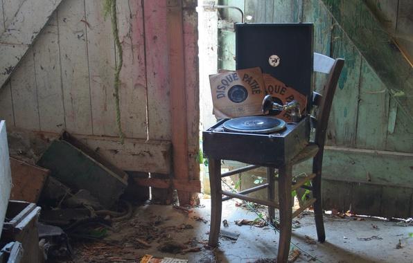 Фото обои стул, винил, проигрыватель пластинок, музыка, фон, пластинки