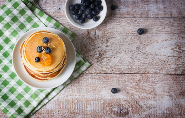Картинка еда, завтрак, черника, мёд, блины, pancake