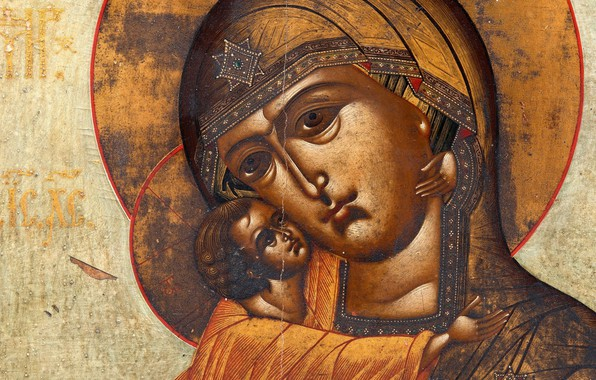 Картинка религиозная живопись, XIXв, Феодоровская, Икона Божией Матери