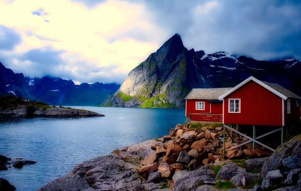 Картинка небо, облака, горы, Норвегия, домики