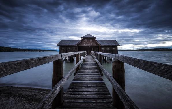 Картинка мост, природа, озеро, дом