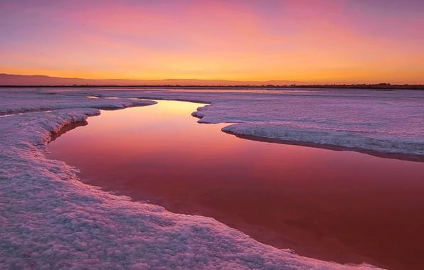 Фото обои закат, река, природа