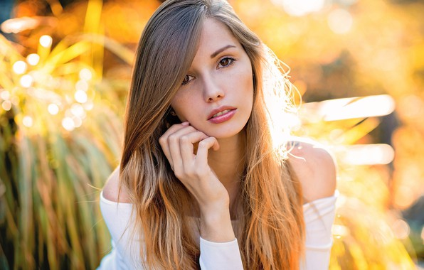 Картинка girl, long hair, brown eyes, photo, photographer, model, lips, face, brunette, sunlight, portrait, mouth, close …