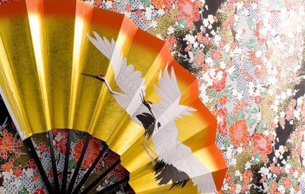 Картинка поверхность, стена, узор, текстура, веер, кимоно, орнамент, журавль, wallpaper., beautiful background, японское искусство, цурукамэ, красноголовые …