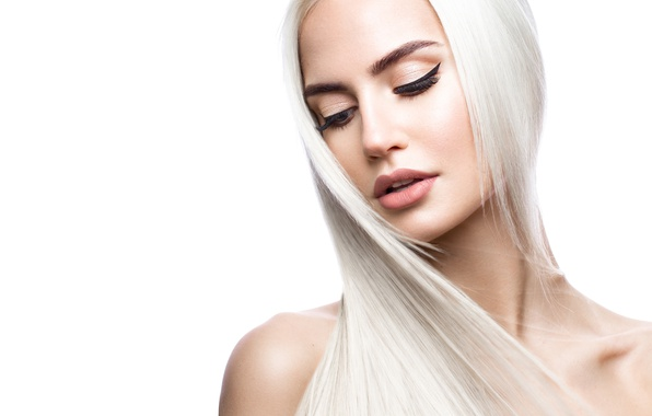 Картинка Blonde, look, make up, hairstyle, close eyes