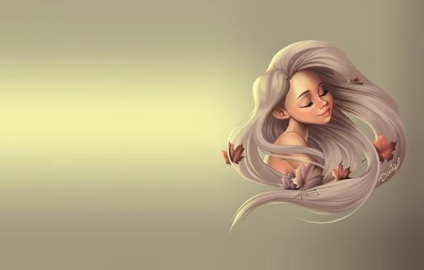 Картинка осень, девушка, лист, ветер, арт, клён, кленовый лист, Dennia (Laura García)