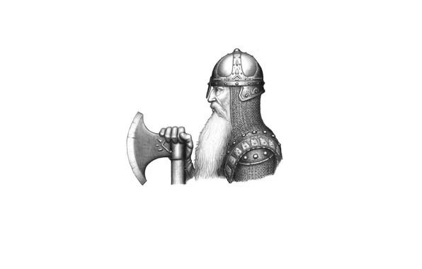 Картинка лицо, доспехи, воин, шлем, профиль, борода, топор, кольчуга