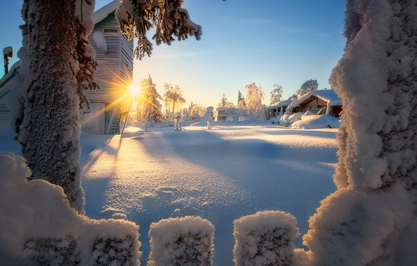Картинка зима, солнце, лучи, снег, деревья, пейзаж, природа, забор, дома, Россия