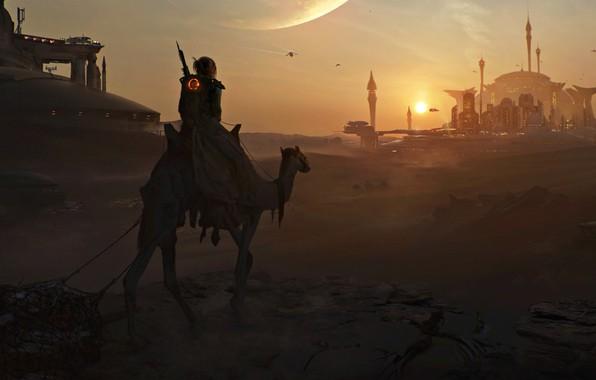 Картинка light, fantasy, Art, desert, Sunset, night, evening, sand, effect, Artwork, futuristic, DeviantArt, Mosque, Painting, camel, …