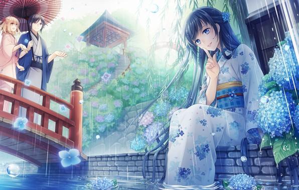 Картинка девушка, романтика, аниме, арт, пара