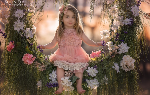 Картинка трава, цветы, природа, качели, девочка, ребёнок