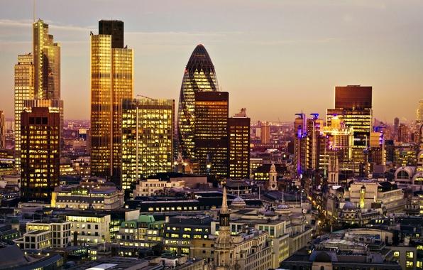 Картинка огни, Англия, Лондон, дома, небоскребы, вечер, панорама
