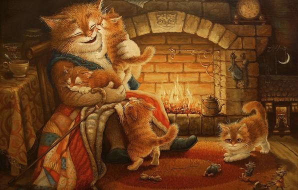 Картинка кот, рисунок, сказка, вечер, арт, котята, камин, детская, Сказочки кота Кузьмы, Александр Маскаев