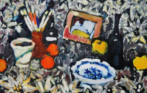 Картинка вино, яблоки, тарелка, натюрморт, кисточки, 2013, Петяев