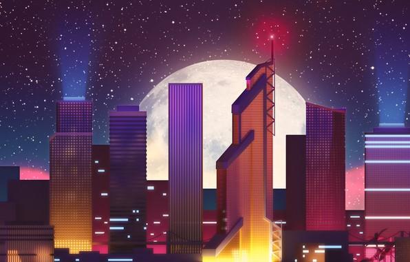 Картинка Ночь, Город, Звезды, Луна, Неон, Небоскребы, Здания, Фон, Electronic, Synthpop, Darkwave, Synth, Retrowave, Синти, Synthwave, …