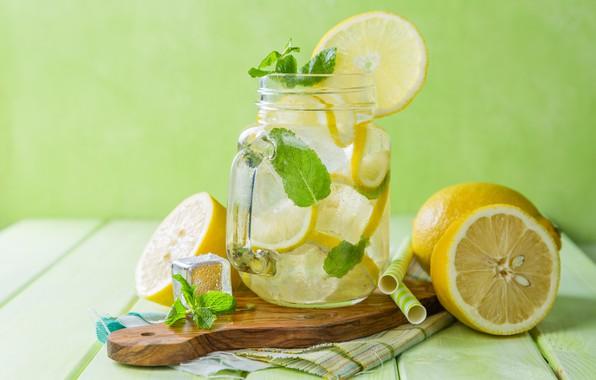 Картинка лёд, кружка, напиток, мята, лимоны, трубочки, лимонад