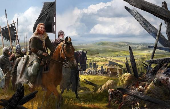 Фото обои оружие, лошадь, армия, доспехи, флаг, воин, поход, строй, отряд, знамя, Викинг