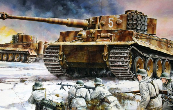 Картинка Тигр, вермахт, немецкий тяжёлый танк, Panzerkampfwagen VI Ausf. H1
