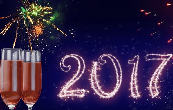 Картинка Новый Год, бокалы, new year, happy, 2017