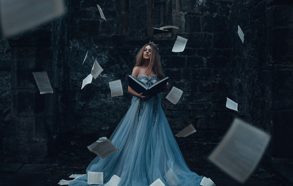 Картинка девушка, платье, книга, страницы, Adam Bird, The Storyteller