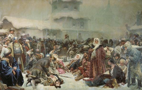 Картинка масло, холст, 1889, Клавдий ЛЕБЕДЕВ, Марфа Посадниц, Уничтожение новгородского веча