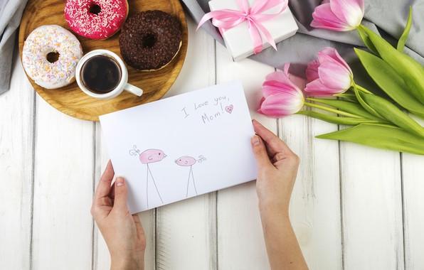 Картинка праздник, Love, тюльпаны, box, flowers, открытка, gift, coffee, paper, family, floral, Mothers day