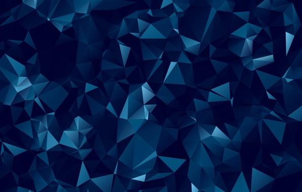 Картинка абстракция, abstract, dark, геометрия, фигуры, blue, background, polygonal