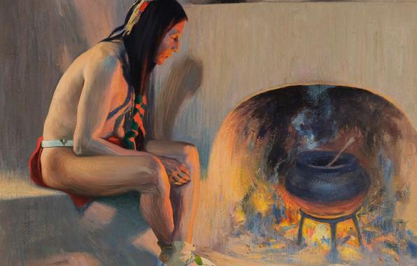 Картинка огонь, печка, котел, 1917, Eanger Irving Couse, A Pueblo Fireplace