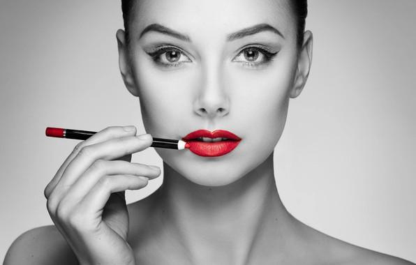 Картинка девушка, лицо, стиль, портрет, макияж, губы, карандаш, красная помада