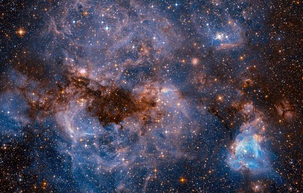 Картинка космос, звезды, НАСА, Большое Магелланово Облако, фото с Хаббл, карликовая галактика типа SBm, спутник Млечного …