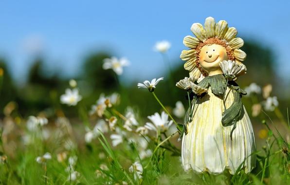 Картинка поле, лето, трава, цветы, ромашки, кукла, фигурка