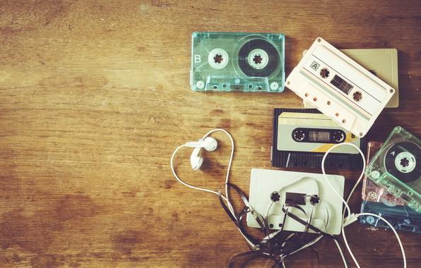 Картинка ретро, музыка, music, наушники, retro, headphones, cassettes, косеты