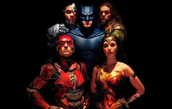 Картинка фантастика, черный фон, Wonder Woman, постер, Batman, Бен Аффлек, комикс, супергерои, DC Comics, Bruce Wayne, ...