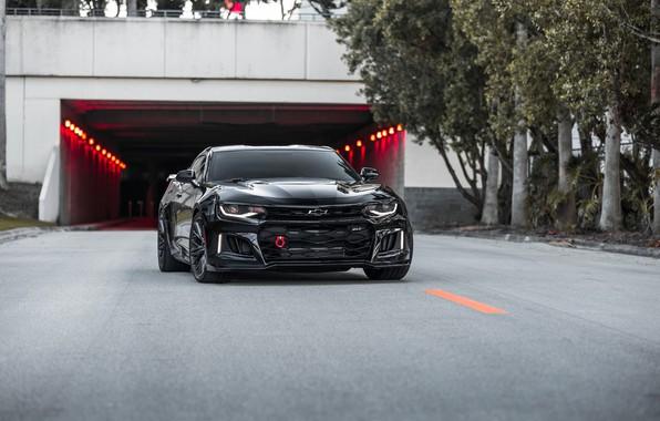 Картинка Chevrolet, Camaro, Black, America, Tunnel, Sight, ZL-1