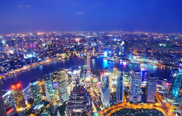 Картинка река, China, здания, панорама, Китай, Shanghai, Шанхай, ночной город, небоскрёбы, река Хуанпу, Huangpu River