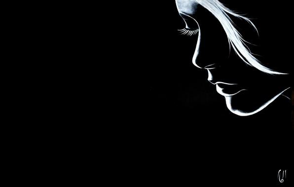 Картинка девушка, белое, чёрное, арт, реснички