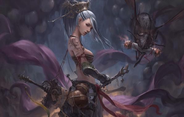 Картинка девушка, оружие, существо, воительница, чудик, Chin Likhui
