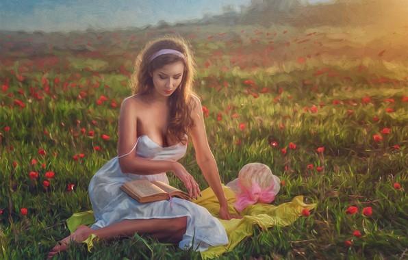 Картинка девушка, цветы, настроение, луг, арт, книга, Evgeny Loza