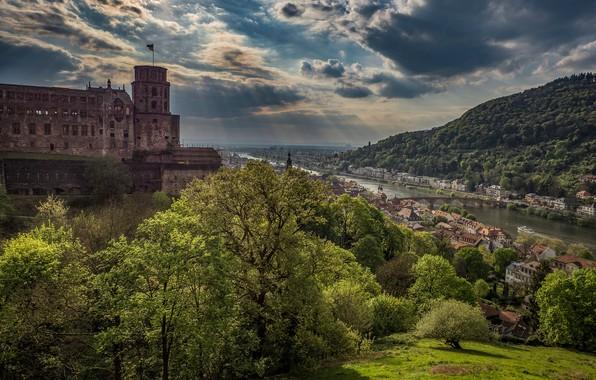 Картинка деревья, мост, река, замок, Германия, панорама, городок, Germany, Баден-Вюртемберг, Baden-Württemberg, Heidelberg, Гейдельбергский замок, Heidelberg Castle, …